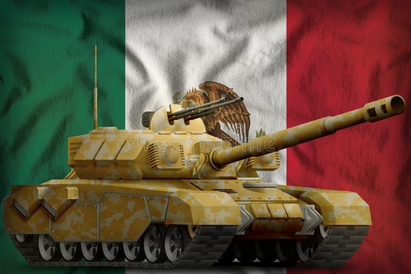 Тяжелый танк с камуфлированием пустыни на мексиканськой предпосылке национального флага иллюстрация 3d бесплатная иллюстрация