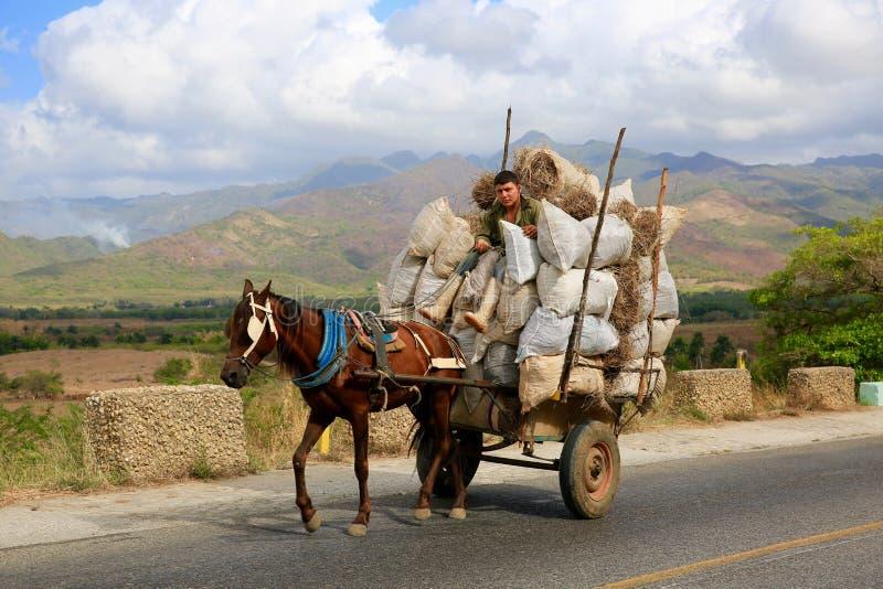 Тяжелый груз нося фуры ` s фермера, Куба стоковое изображение