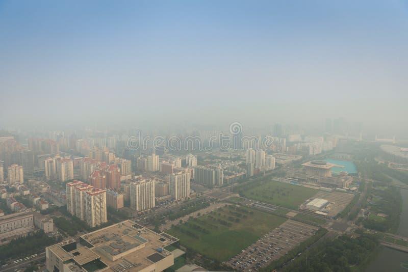 Тяжелый смог в Пекине стоковые фотографии rf