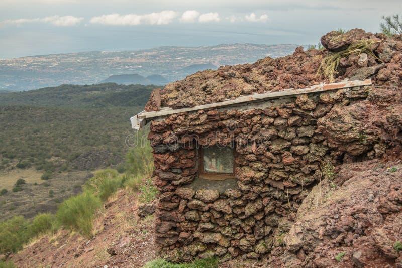 Убежище на вулкане Этна в Сицилии стоковая фотография