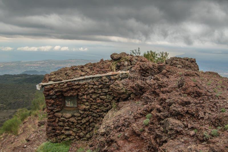 Убежище на вулкане Этна в Сицилии стоковое изображение rf