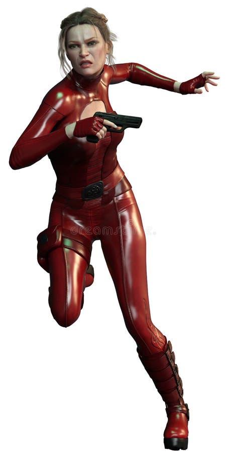 Убийца CGI женский в красном ходе обмундирования стоковое изображение rf