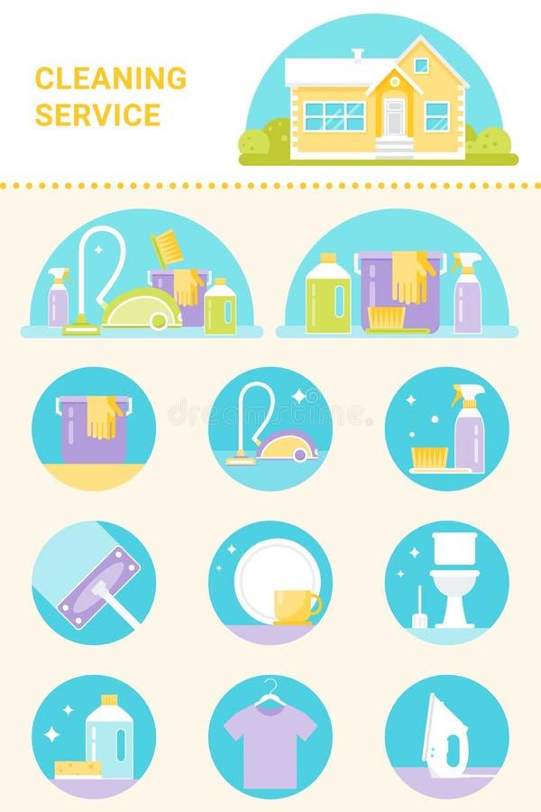 Уборка, иллюстрации агентов чистки и инструментов и комплект вектора значков иллюстрация штока