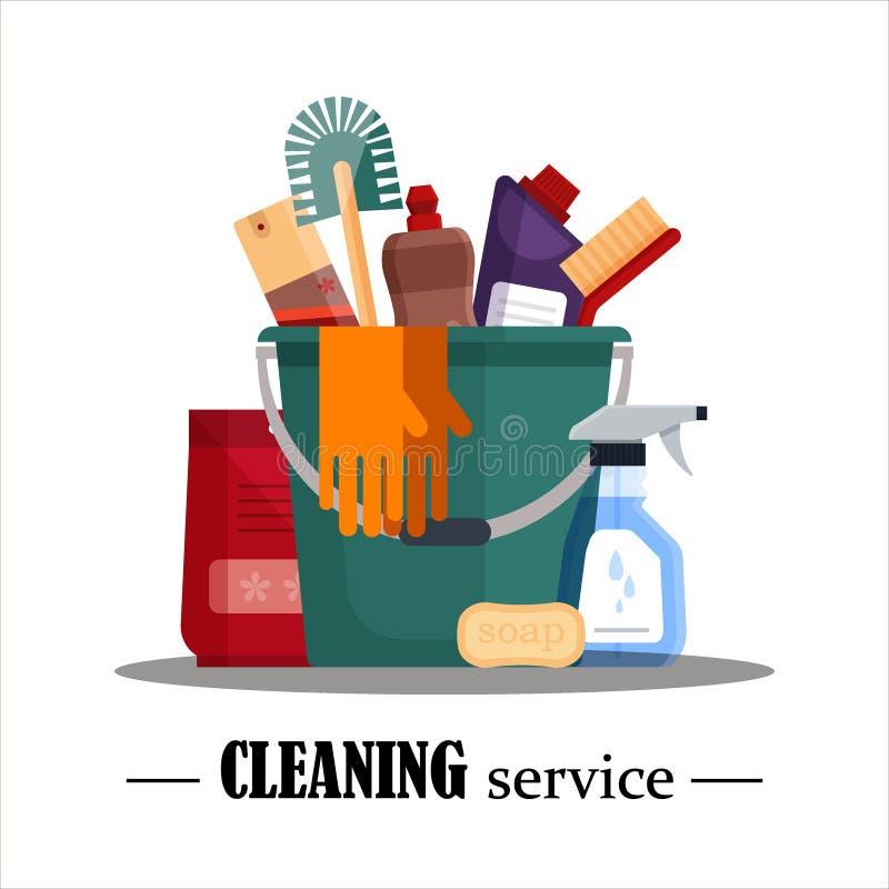 уборка Установите инструменты чистки дома в ведре изолированном на белой предпосылке Продукты детержентных и дезинфектанта бесплатная иллюстрация