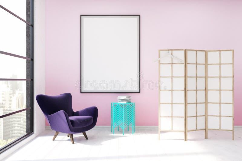 Уборная с розовой стеной бесплатная иллюстрация