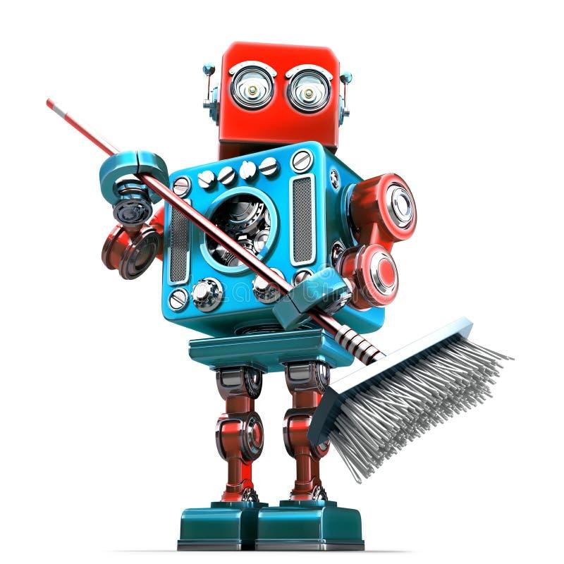 Уборщик робота с mop изолировано Содержит путь клиппирования бесплатная иллюстрация