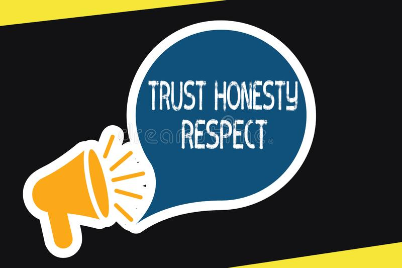 Уважение честности доверия текста почерка Концепция знача респектабельные черты фасетка хорошего нравственного характера бесплатная иллюстрация
