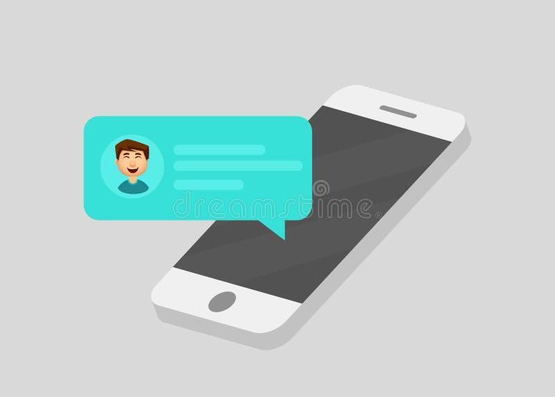 Уведомления сообщения болтовни мобильного телефона Беседуя речи пузыря, концепция онлайн говорить, говорят, переговор, диалог век иллюстрация штока