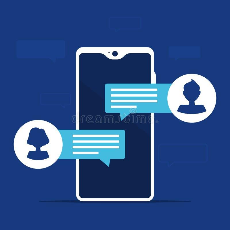 Уведомления сообщения болтовни мобильного телефона с воплощением человека и женщины Вектор изолированный на голубой предпосылке иллюстрация штока