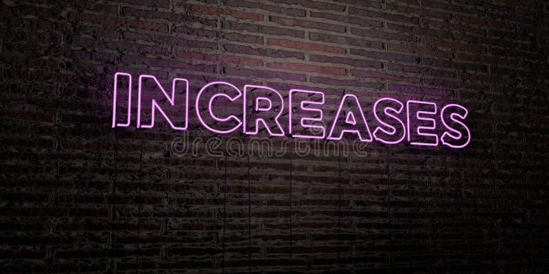 УВЕЛИЧЕНИЯ - реалистическая неоновая вывеска на предпосылке кирпичной стены - представленное 3D изображение неизрасходованного за бесплатная иллюстрация