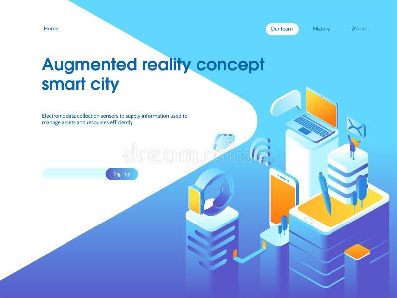 Увеличенная концепция реальности Умная технология города Шаблон страницы посадки иллюстрация штока