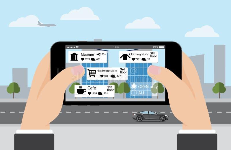 Увеличенная реальность в маркетинге вручите телефон иллюстрация штока