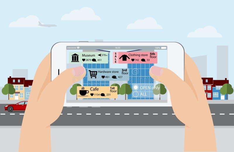 Увеличенная реальность в маркетинге вручите телефон иллюстрация вектора