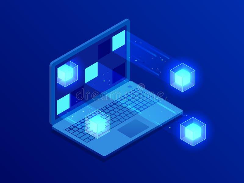 Увеличенная реальность, искусственный интеллект, большое преобразование данных, станция энергии будущего, футуристического визуал иллюстрация вектора