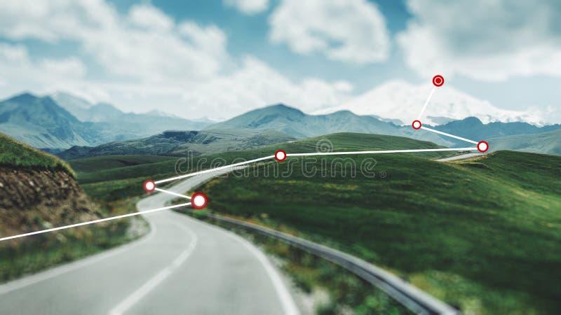 увеличенная реальность Распорядок построен перемещение карты dublin принципиальной схемы города автомобиля малое стоковое фото