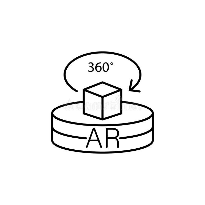 Увеличенная реальность, степень, технология, значок 360 Элемент значка новой технологии на белой предпосылке иллюстрация штока