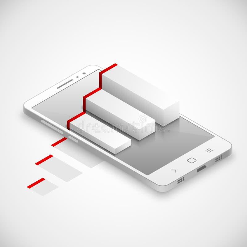 Увеличенная реальность с Infographics в современном Smartphone касания бесплатная иллюстрация