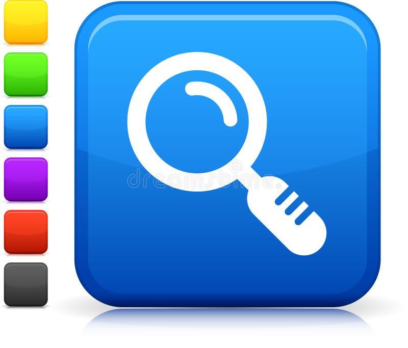 Увеличивать - стеклянная икона на квадратной кнопке интернета иллюстрация штока