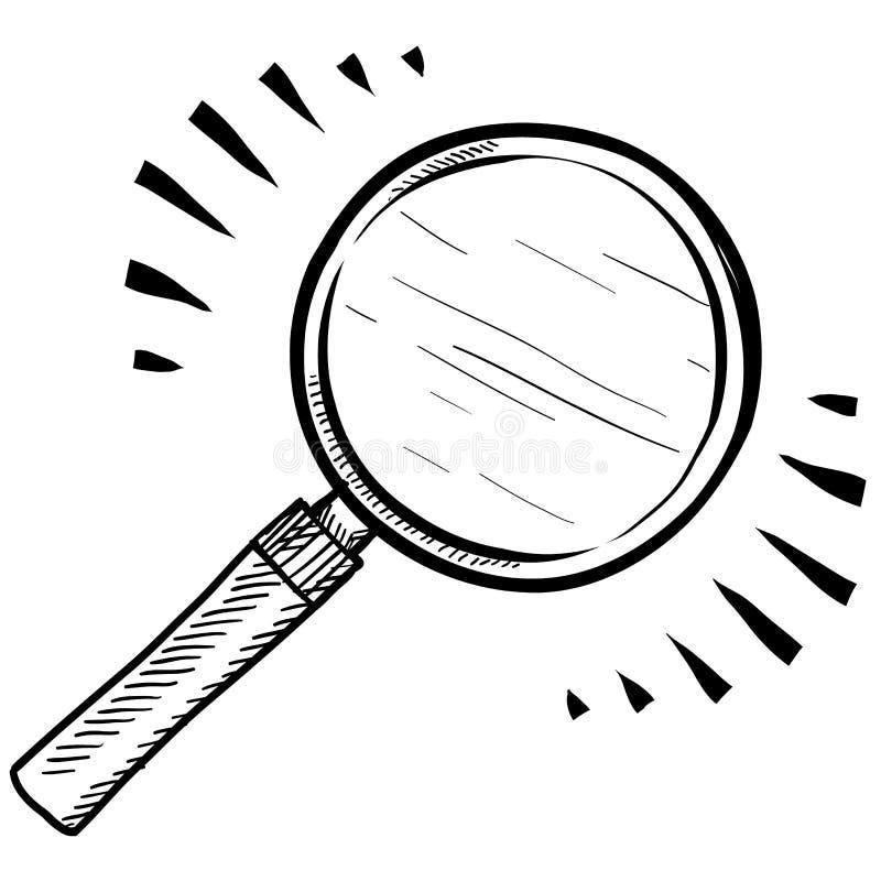 Увеличивать - стеклянный эскиз иллюстрация вектора