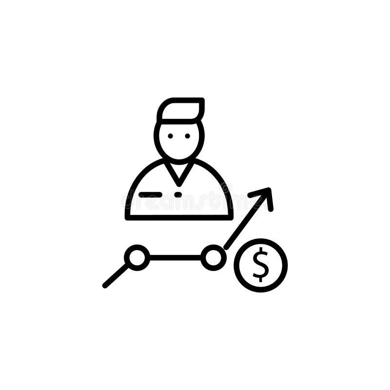 увеличьте в зарплате работника Элемент значка собеседования для приема на работу для передвижных apps концепции и сети Тонкая лин иллюстрация штока