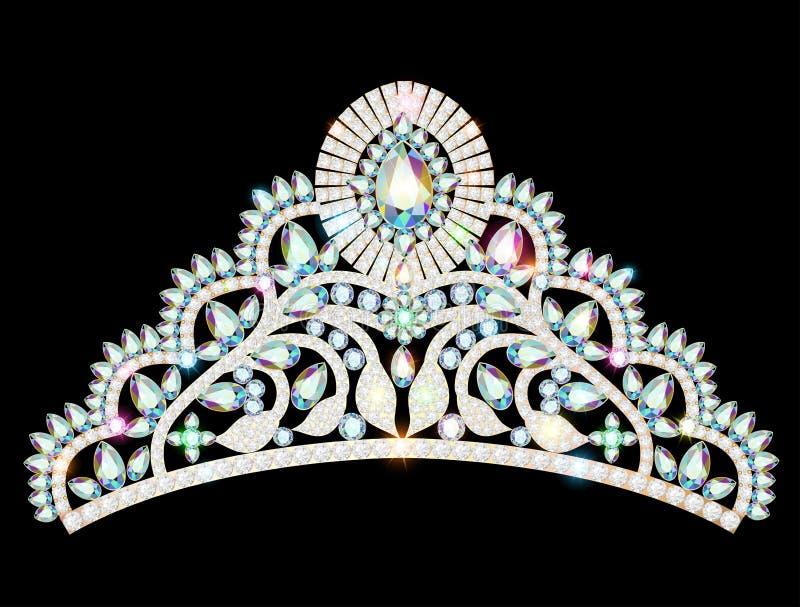 увенчайте женщин тиары diadem с блестящим драгоценным s иллюстрация вектора