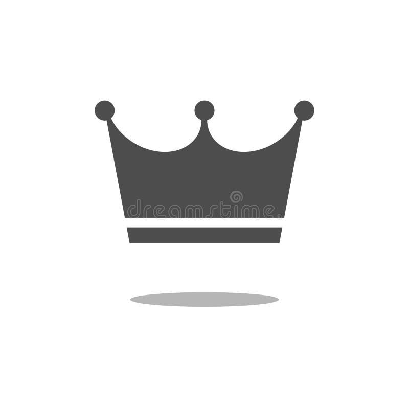 Увенчайте значок в ультрамодном плоском стиле изолированный на белой предпосылке Символ для вашего дизайна вебсайта, логотип крон иллюстрация штока