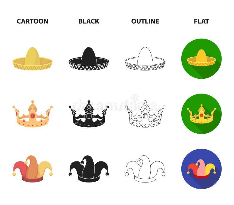 Увенчайте, крышка шута, кашевар, конус Шляпы установили значки собрания в шарже, черноте, плане, плоском запасе символа вектора с иллюстрация штока