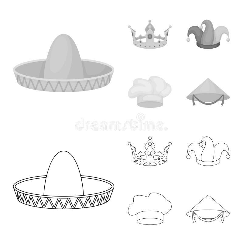 Увенчайте, крышка шута, кашевар, конус Шляпы установили значки собрания в плане, monochrome иллюстрации запаса символа вектора ст иллюстрация вектора