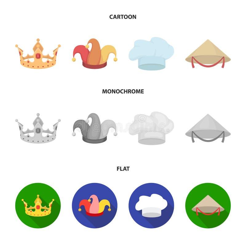 Увенчайте, крышка шута, кашевар, конус Шляпы установили значки собрания в шарже, плоском, monochrome запасе символа вектора стиля иллюстрация штока