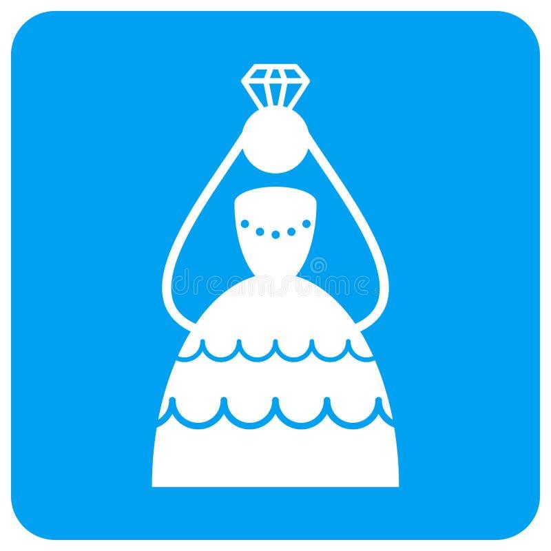Увенчанный округленный невестой квадратный значок растра бесплатная иллюстрация