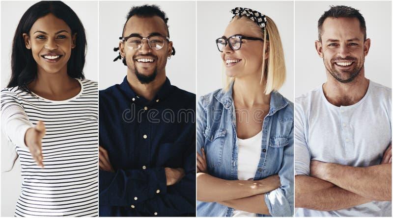 Уверенная группа в составе разнообразный молодой усмехаться предпринимателей стоковая фотография