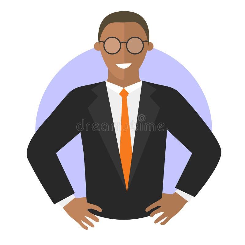 Уверенно бизнесмен с руками подбоченясь зацепляет икону иллюстрация вектора