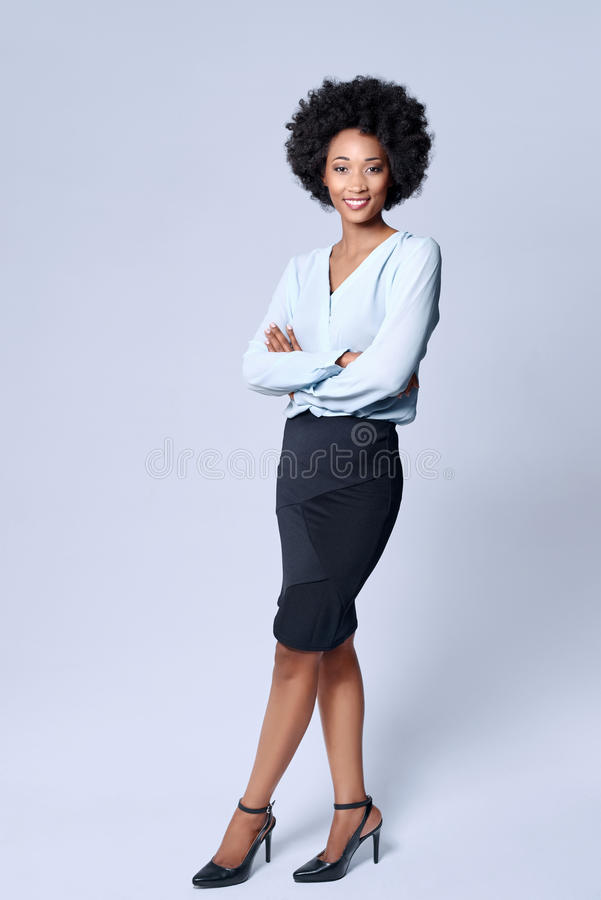 Уверенно бизнес-леди чёрного африканца стоковое изображение