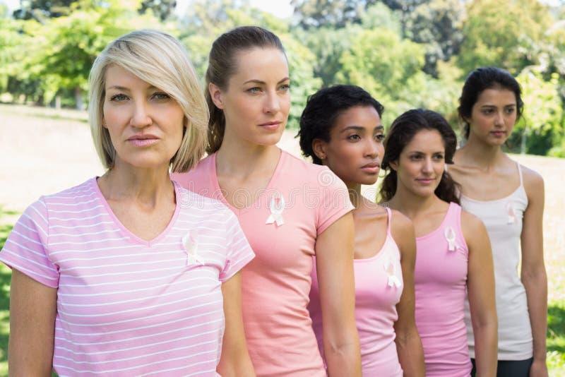 Уверенно волонтеры поддерживая осведомленность рака молочной железы стоковая фотография rf