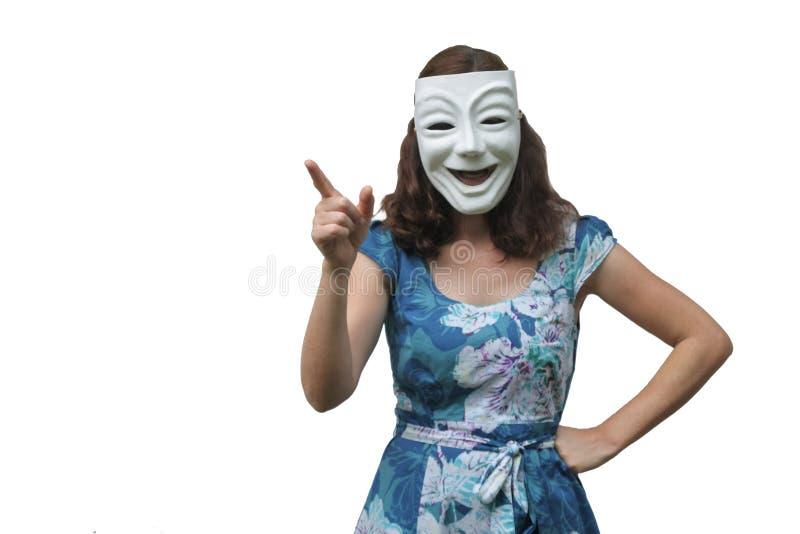 Уверенно женщина нося счастливый лицевой щиток гермошлема смеясь над и указывая стоковое изображение rf