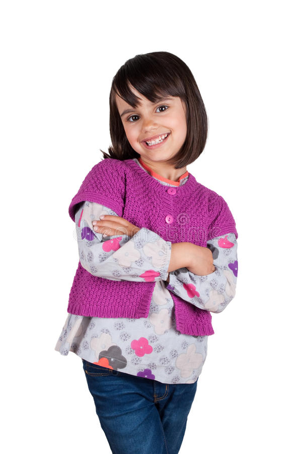 Уверенно маленькая девочка при пересеченные оружия стоковая фотография rf