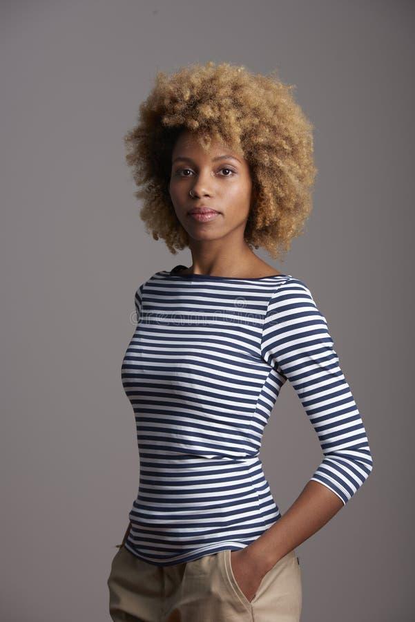 Уверенно молодой афро-американский портрет женщины стоковое изображение rf