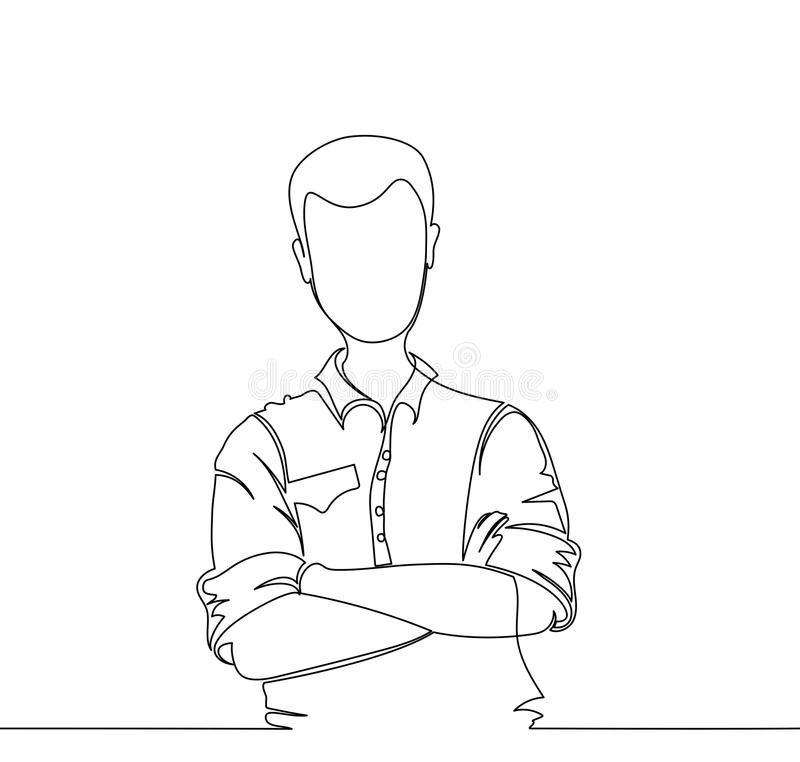 Уверенно молодой красивый человек Одна линия иллюстрация вектора
