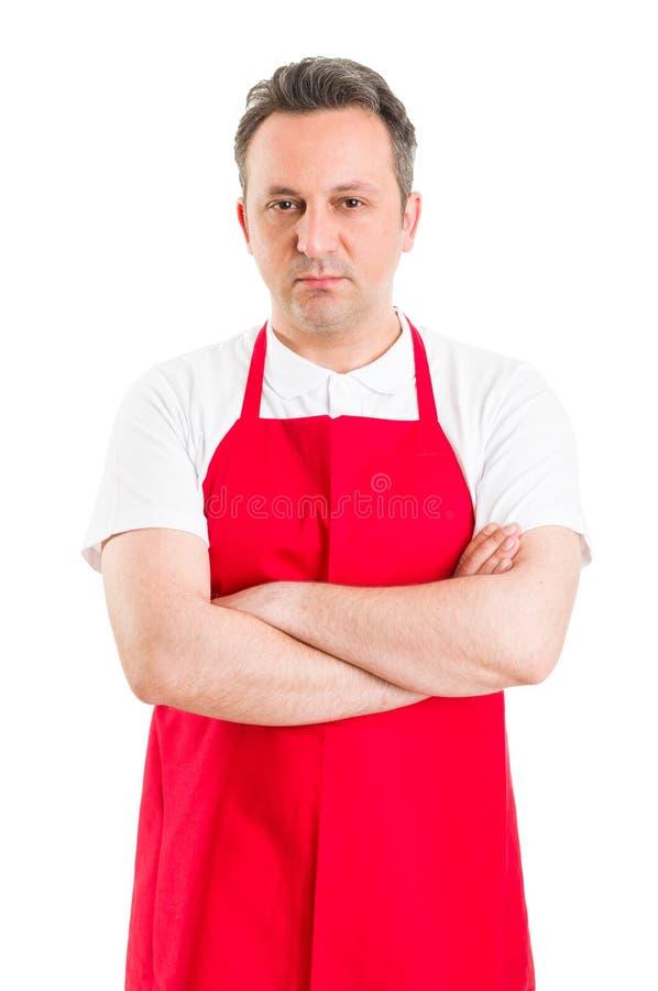 Уверенно мясник или работник супермаркета стоковые изображения rf