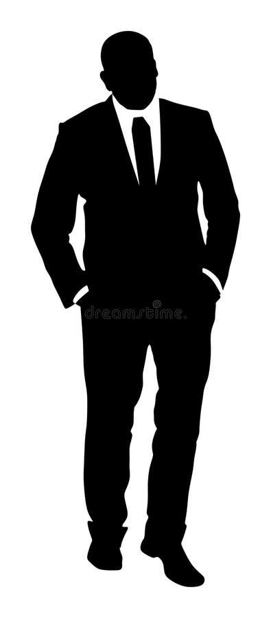 Уверенно положение руководителя Бизнесмен идет работать силуэт иллюстрация штока
