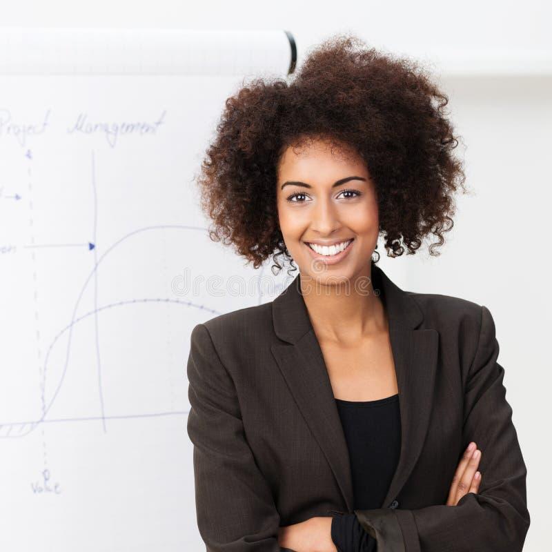 Уверенно усмехаясь Афро-американская женщина стоковые фото