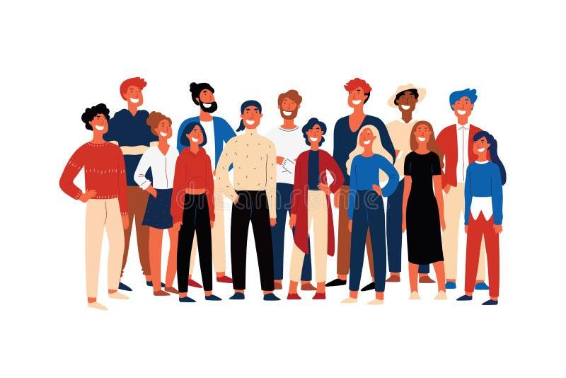 Уверенные люди, члены общества студента, жизнерадостные волонтеры стоя совместно, усмехаясь молодые люди иллюстрация штока