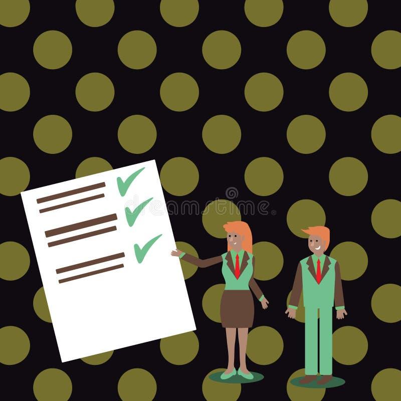 Уверенные человек и женщина в деловом костюме стоя, показывая жестами и представляя отчет о данных на доске цвета творческо иллюстрация штока