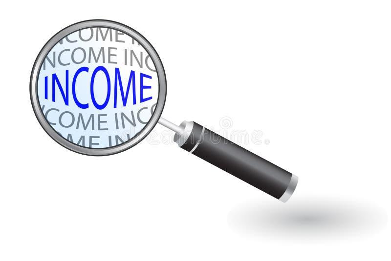 Увеличитель - искать доход иллюстрация вектора