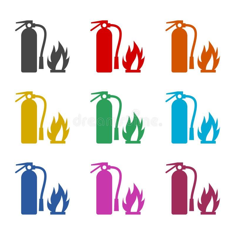 Увольняйте вектор знака, значок огнетушителя, установленные значки цвета бесплатная иллюстрация