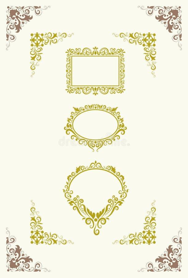 угловойые орнаменты ярлыка иллюстрация вектора
