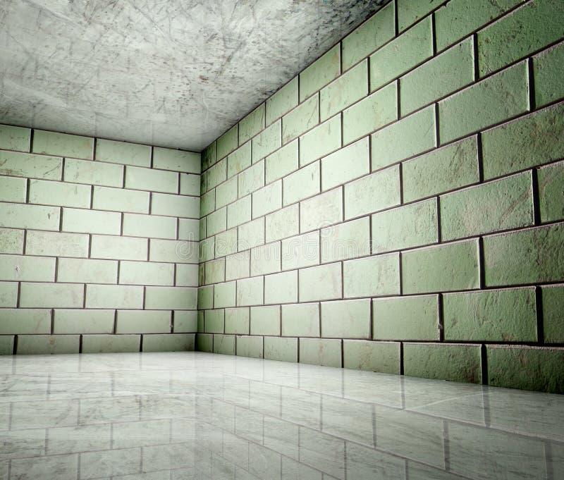 угловойые плитки интерьера grunge 3d иллюстрация вектора