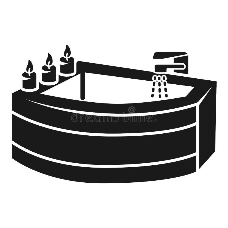 Угловой значок ванны, простой стиль бесплатная иллюстрация