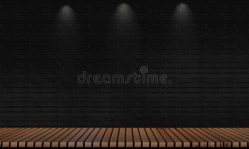 Углы паркета Брауна и черные кирпичные стены для предпосылок для показа продуктов или устанавливать продукты стоковое фото
