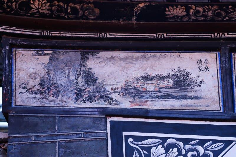 Углы старого Китая, украшения в историческом центре Xizhou, Юньнань, Китая Xizhou, Юньнань, Китай стоковая фотография rf